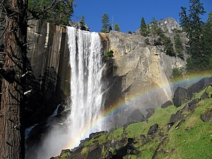 English: Vernal Fall is a large waterfall on t...