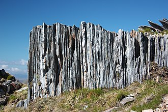 Moine Supergroup - Vertically-tilted metamorphic rocks of the Glenfinnan Group, near Carn Eighe in the Northern Highlands.