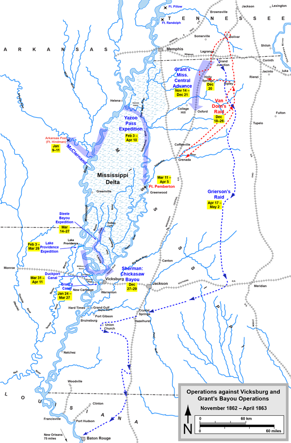 Operations against Vicksburg and Grant's Bayou Operations Confederate Union VicksburgCampaignDecember62March63.png