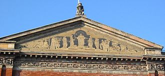 The mosaic in the pediment of the North Facade, designed by Godfrey Sykes Victoria and Albert Museum pediment.jpg