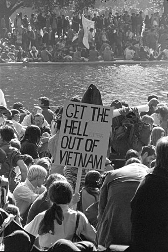Vietnam War protestors march at the Pentagon in Washington, D.C. on October 21, 1967. Support for the war was dropping and the anti-Vietnam War movement strengthened. Vietnam War protestors at the March on the Pentagon.jpg