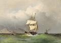 Viggo Fauerholdt - Tremaster og dampskib under uvejrsskyer ud for en klipperig kyst.png