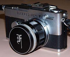Vintage Olympus Pen F Single Lens Reflex Half-Frame Camera, Made In Japan, Circa 1963 (13387577654).jpg