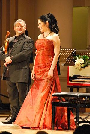 Fabio Biondi - Biondi with Vivica Genaux  at the Misteria Paschalia, Poland, in 2010.