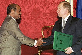 Meles Zenawi - Meles with Russian President Vladimir Putin on 3 December 2001