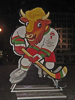 Volat or Valera (official mascot of IIHF WC 2014 Belarus) in Minsk.jpg