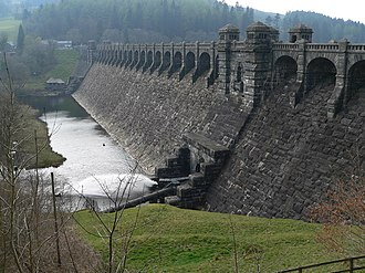 Liverpool Corporation Waterworks - The Lake Vyrnwy dam was built to impound drinking water for Liverpool in the 1880s.