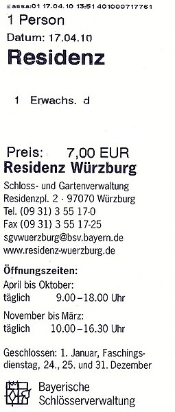 German admission ticket for Wurzburg Residence (2010) Wurzburger Residenz - Eintrittskarte.jpg