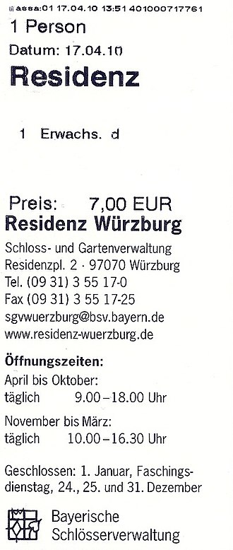 Ticket (admission) - German admission ticket for Würzburg Residence (2010)