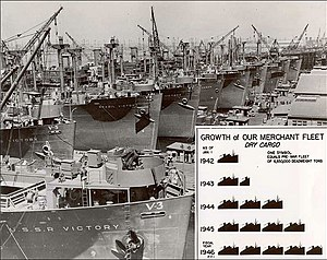 War Shipping Administration - WSA press release photo showing wartime production of shipping tonnage