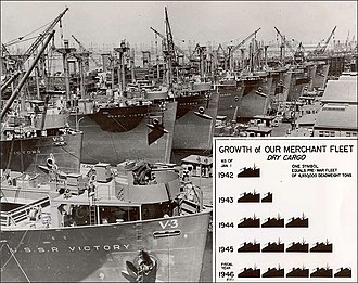 Victory ship - War Shipping Administration photo showing early 1944 Victory ship construction at California Shipbuilding Corporation with a May 1945 war tonnage production chart