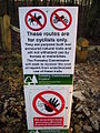 Warning notice on mountain bike trail - geograph.org.uk - 290454.jpg