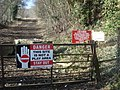 Warning signs at the entrance to Nash Quarry - geograph.org.uk - 901686.jpg