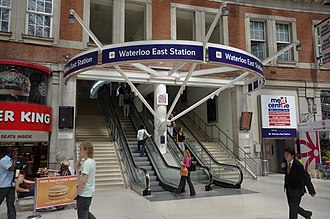Waterloo East railway station - Entrance to Waterloo East from Waterloo station prior to the completion of the retail balcony in 2012.
