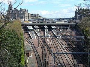 North British Railway - Waverley Station, Edinburgh with the North British Hotel on the left.