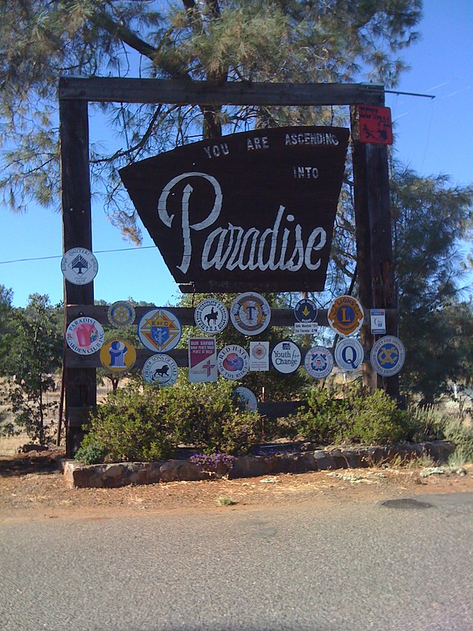 Paradise CA sign