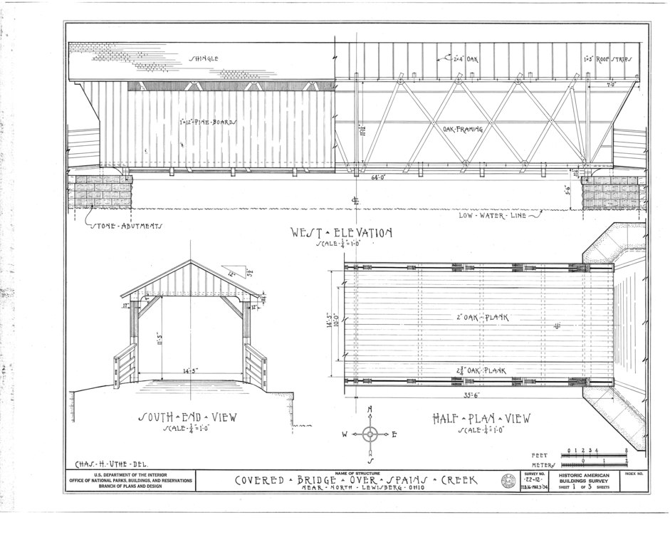 Elevation Plan And End View : File west elevation south end view half plan