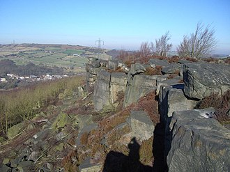 Wharncliffe Crags - The top of the crags with the Stocksbridge bypass in the background