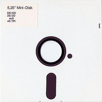 History of the floppy disk - White 5¼-inch floppy disk.