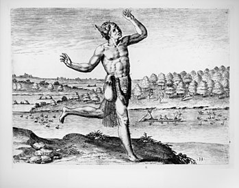 "Native American ""conjuror"" in a 1590..."