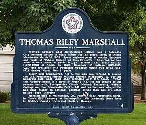 Columbia City, Indiana - Image: Whitley county thomas riley marshall plaque