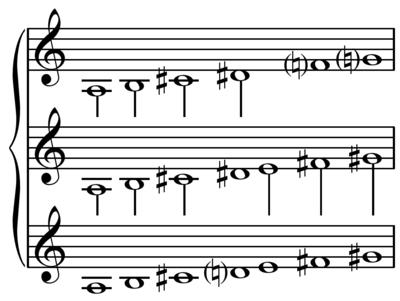 Modus tengah, Lydian, fungsi sebagai perantara antara skala nada utuh, atas, dan skala besar, bawah.