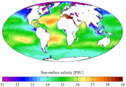 Annual mean sea surface salinity for the World Ocean. Data from the World Ocean Atlas 2001.