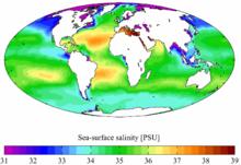 Salinità media annuale registrata in tutti i mari e gli oceani della Terra