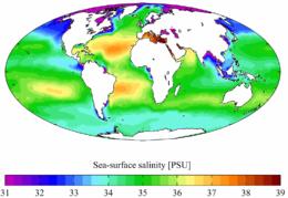 Salinità annuale media della superficie oceanica (World Ocean Atlas, 2001).
