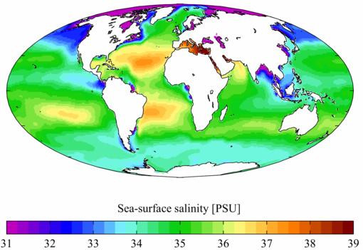 Salinità media annuale registrata in tutti i mari e gli oceani della Terra.