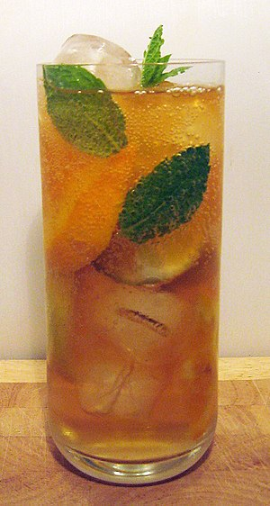 Fruit cup - A glass of prepared Fruit Cup mixed with lemonade