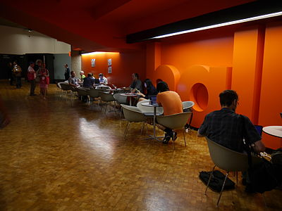 Wikimania 2014 attendees on level -1 of the Barbican Centre at 11-15am on Friday.jpg