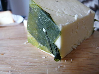Cornish Yarg - This Cornish Yarg is prepared with garlic, and is wrapped with nettle