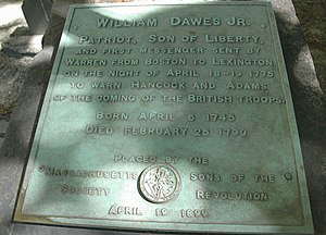 William Dawes - William Dawes tomb marker in King's Chapel Burying Ground