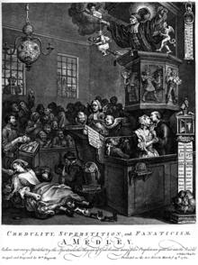 Scène se déroulant dans un tribunal d'époque. En plus des personnes sur place, une sorcière et un démon sont représentés. En haut d'une chaire se tient un prêcheur, alors qu'en bas de l'image un homme est étendu par terre.