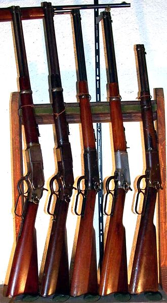 Winchester rifle - Left to right Carbines two 1873/1894/92/Trapper 92.