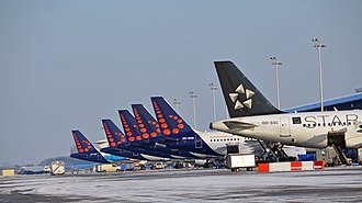 Brussels Airlines - Brussels Airlines aircraft lined up at Brussels Airport