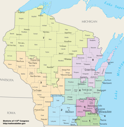 United States Congressional Delegations From Wisconsin Wikipedia - Us senate district map