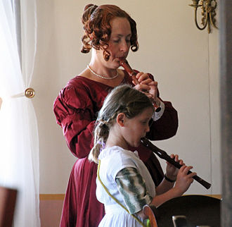 Recorder (musical instrument) - A woman and girl playing recorders at Fort Ross State Historic Park in 2015