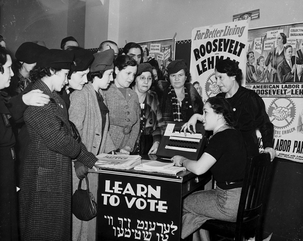 Women voter outreach 1935 English Yiddish