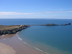 English: Worm's Head, Gower. Taken by me flyin...