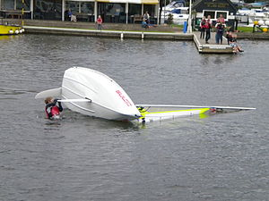 Turtling (sailing) - Practice righting a capsized dinghy