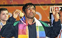 XIX Commonwealth Games-2010 Delhi Yogeshwar Dutt of India won the gold medal in (Men's) Wrestling 60Kg Freestyle, at Indira Gandhi Stadium, in New Delhi on October 09, 2010.jpg
