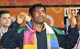 XIX Commonwealth Games-2010 Delhi Yogeshwar Dutt of India won the gold medal in (Men's) Wrestling 60Kg Freestyle, at Indira Gandhi Stadium, in New Delhi on October 09, 2010.jpg