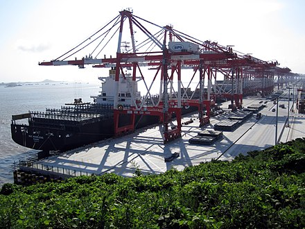 Shanghai Port is the world's busiest container port Yangshan-Port-Balanced.jpg