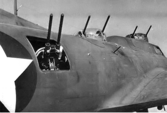 Close-up of the array of .50-caliber guns on the Boeing YB-40 Flying Fortress. - Boeing YB-40 Flying Fortress
