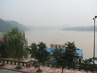 """Yibin - The Yangtze at the confluence of the Min and Jinsha Rivers.  Below Yibin, the Yangtze is known in Chinese as Chang Jiang or the """"Long River"""".  Above Yibin, the Yangtze is known as the Jinsha or Gold Sands River."""