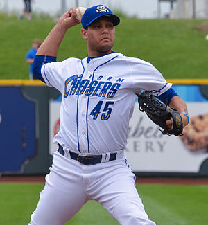 Yohan Pino - Pino pitching for the Omaha Storm Chasers in 2015