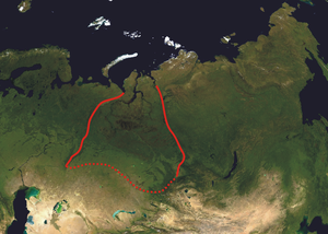 Geology of Russia - Western Siberian plain on a satellite map of North Asia.