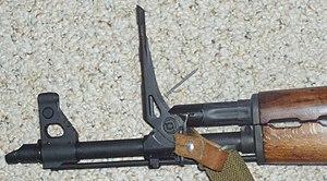 Zastava M70 - Zastava M70 rifle with grenade sights raised.